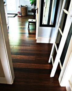 Distressed bamboo flooring with DIY hand scraped