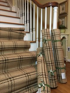 Dash and Albert plaid jute stair runner by Bunny Williams.