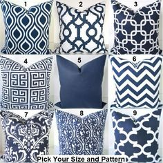"$25 for 26 x 26"". Best Price! Pillows Navy Blue Decorative Throw Pillows Dark Blue Chevron Throw Pillow Covers ALL SIZES. 16x16 18 20 Euro Shams"