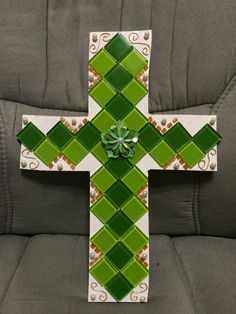 Mosaic Cross Green by B2CraftyCreations on Etsy
