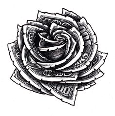 Hundred Dollar Bill Rose Floral Tattoo Design