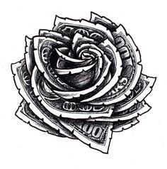Hundred Dollar Bill Rose Floral Tattoo Design