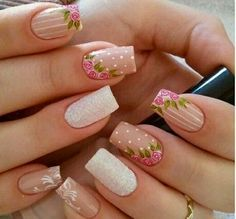 35 Vintage Floral Nails You Will Adore Gorgeous Nails, Pretty Nails, Nail Art Designs, Vintage Nails, Rose Nails, Flower Nail Art, Nail Decorations, Spring Nails, Nails Inspiration