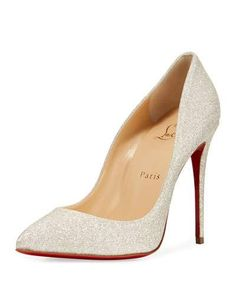 4943dc4f818 CHRISTIAN LOUBOUTIN Pigalle Follies Glittered Red Sole Pump, White.  #christianlouboutin #shoes #