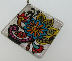 Hand painted Clear Glass Square Pendant with Henna Design by RiVaa, $22.00