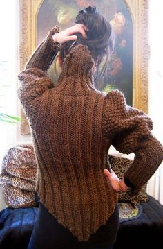Brown Tudor Ribbed Cardigan in Bulky Wool