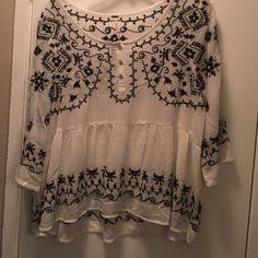 Free people white patterned top Black stitch design. Good condition! Free People Tops
