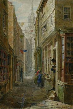 Bookshop, Church Lane, Near St Martin-in-the-Fields by George Johann Scharf. Victorian London, Vintage London, Old London, London Art, British Museum, London Drawing, London History, British History, Asian History