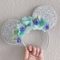 Silver Glitter Minnie Mouse Ears, Sparkle Mickey Ears for Kids and Adults, Mermaid Mouse Ear Hedband, Silver Disney Ears Diy Disney Ears, Mickey Mouse Ears Headband, Disney Mickey Ears, Disney Diy, Disney Ideas, Disneyland, Silver Jewelry Cleaner, Turquoise And Purple, Ear Headbands