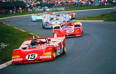 Jacky Ickx in the Ferrari 312PB #0878 leads at the start in front of Stommelen's Alfa Romeo T33/3. Behind them later winning Vic Elford (GB) and van Lennep (NL), both in the Martini-Porsches 908/03, closely followed by Siffert's and Rodriquez' Gulf-Porsche - Schlegelmilch Photography.-