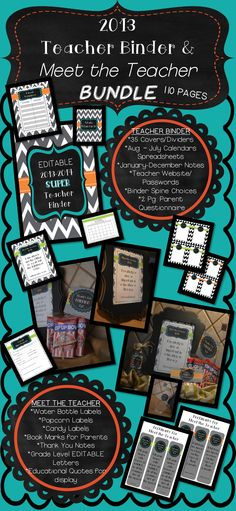 110 Pages! 2013-2014 Teacher Binder and Meet the Teacher Bundle! Amazing!!  Many Printables! Wow!