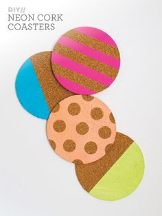 Sarah Hearts - Neon Cork Coasters for Redbook Magazine Neon Crafts, Cork Crafts, Diy And Crafts, Arts And Crafts, Summer Crafts, The Coasters, Diy Cork Board, Craft Projects, Projects To Try