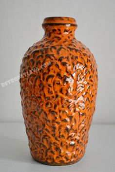 Orange West German Jasba Keramik vase marked by RetroFatLava, €45.00
