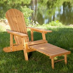Coral Coast Big Daddy Reclining Adirondack Chair Set with FREE Side Table - Natural - Adirondack Chairs at Hayneedle