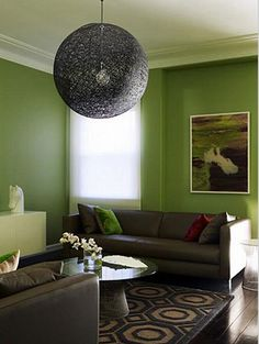 Looking For Perfect Green My Living Room With White Trim And Brownish Leather Furniture