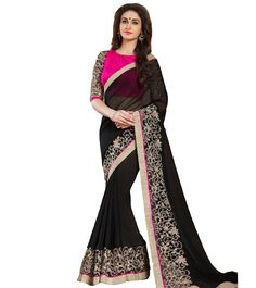 Black Georgette Embroidered Saree With Blouse Piece #indianroots #ethnicwear #saree #blousepiece #georgette #embroidered