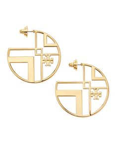 Chevron Cutout Hoop Earrings with Logo by Tory Burch at Neiman Marcus.