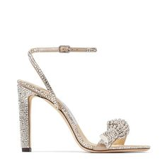 Jimmy Choo Thyra 100 Nude Suede Sandals With Pavé Crystal Cord Detail - Nude/Crystal - Best Bridal Shoes, Bridal Heels, Stilettos, Stiletto Heels, Designer Wedding Shoes, Designer Shoes, Expensive Heels, Jimmy Choo Romy, Embellished Sandals
