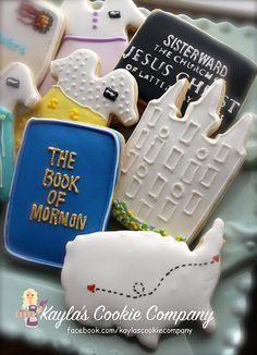 Sister missionary cookies LDS cookies Temple cookies Missionary cookies Book of Mormon cookies Missionary Homecoming, Missionary Farewell, Sister Missionaries, Sugar Cookie Frosting, Best Sugar Cookies, Mormon Baptism, Farewell Cake, Baptism Cookies, Lds Mission