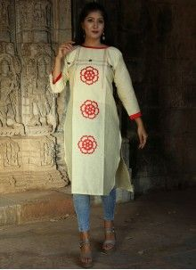 Buy White Thread Work Party Wear Kurti Online White Casual, White Style, Long Cotton Kurti, Purple Saree, Latest Kurti, Blue Party, Work Party, Fabric Shop, Saree Collection