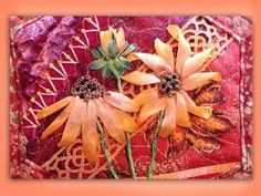 how to make a silk ribbon embroidered rudbeckia flower group - YouTube