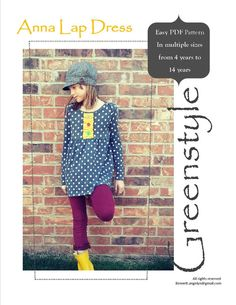 Instant Download Greenstyle Anna Lap Dress or Tunic PDF Sewing Pattern for Girls in Sizes 18 months to 14 Years