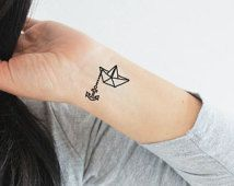 4 paper boat and anchor temporary tattoos / origami temporary tattoo / paper boat origami tattoo / anchor tattoo / sailor tattoo / nautical