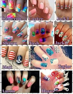 The nail art he likes, Carter Reynolds, Cameron Dallas,Matt Espinosa, Taylor Caniff, Jack Johnson, Shawn Mendes,Nash Grier, Jack Gilinsky,Aaron Carpenter, Hayes Grier , MagCon Boys