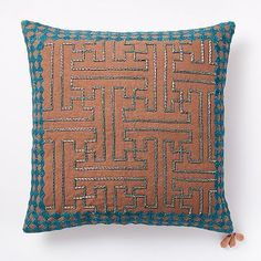 Jacquard Velvet Triangle Mosaic Pillow Cover - Wine   west elm