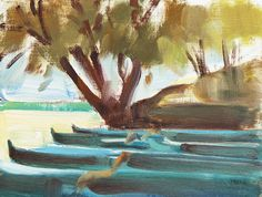"""""""Ironwoods and Outriggers"""", Oil on Panel, 8 x 6 - Joanne Mehl Paintings"""