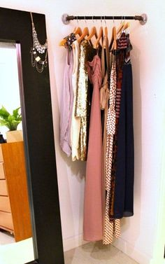 corner rod for planning outfits/what to wear the next day. super duper clever for those wasteful corner spaces! Putting one of these in my new room! My New Room, My Room, Spare Room, Dorm Room, Corner Rod, Corner Closet, Corner Shelf, Tiny Closet, Closet Space