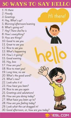 Greetings: 30 Ways to Say HELLO English Greetings! List of different ways to say HELLO with examples and ESL pictures. Learn these Hello synonyms to enhance your vocabulary and improve yo English Learning Spoken, Learning English For Kids, Teaching English Grammar, English Writing Skills, English Vocabulary Words, English Language Learning, Learning Spanish, German Language, Japanese Language