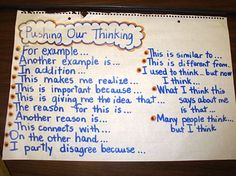 Pushing Our Thinking- (Lots of great anchor charts here by Holly Nowalk)