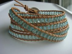 Sea Green Bead and Leather Wrap Bracelet Flower by tinacdesigns, $35.00