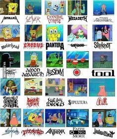 Spongebob and Metal Bands Music Memes Funny, Music Jokes, Music Humor, Funny Video Memes, Funny Videos, Musica Metal, Head Memes, Metal Meme, Heavy Metal Rock