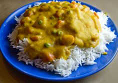 Vegan Vegetable Korma - this is a great photo. I always serve all of my soups, stews, and chili dishes on top of a bed of rice, too. If you haven't tried it, you're definitely missing out. It is the only way I will eat soup or stew, now!