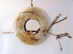 Hanging Clay Bird Feeder 2 Sided Using Real Leaves by SallysClay, $45.00
