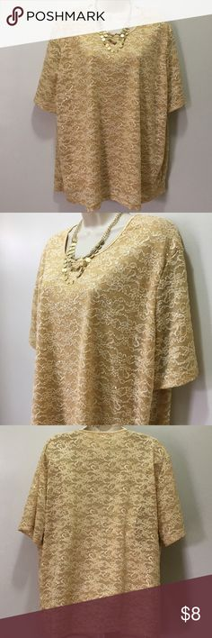 Kathy Lee Blouse Gold with sequin detail. 63% Nylon, 30% Polyester, 7% Spandex Kathy Lee Tops Blouses