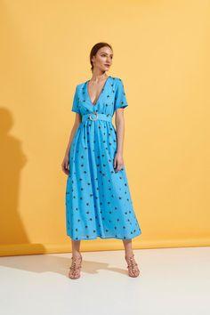 Virginia Dress (Blue) Cotton Dresses, Blue Dresses, Summer Dresses, Short Sleeves, Short Sleeve Dresses, Going Out Dresses, Dressed To Kill, Boutique, V Neck Dress