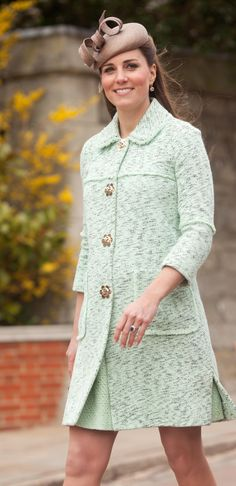 [Closer look] Mulberry mint coat, her Whiteley Cappuccino beret, and her Kiki McDonough earrings.