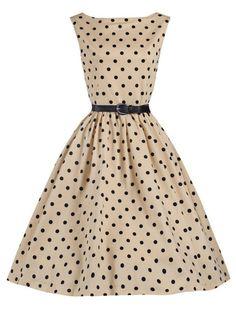 Vintage Polka Dot Sleeveless O Neck Women Dresses