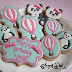 Purchase handmade custom sugar cookies decorated with royal icing for any occasion or event. Favors or platters in Frederick, MD Maryland Bear Cookies, Best Sugar Cookies, Cute Cookies, Panda Birthday Cake, Birthday Cookies, Panda Bear Cake, Bear Food, Desserts With Biscuits, Panda Party