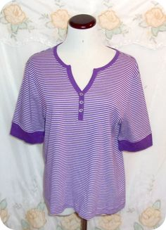 Chaps Womens Top Size XL Purple White Striped Short Sleeve Cotton #Chaps #KnitTop #CareerCasual #Fashion #Clothing #Womens #Top #SizeXL