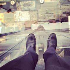 """Shoes For Crews over Chicago, walking on air at the Sears Tower. """"The Edge"""" overlook."""