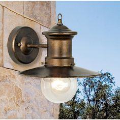 """Maritime Collection 1-Light 10"""" Hazelnut Bronze Outdoor Wall Sconce with Seeded Blown Glass 42005/1"""