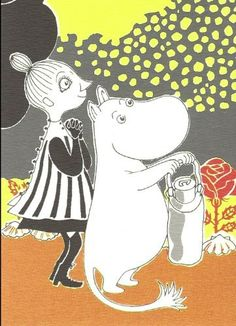 Retro Moomin Postcard - Moomintroll and Mymble