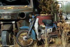 The Amazing Miniature World of Satoshi Araki Honda Cub, Rc Model, Classic Bikes, Design Thinking, Scale Models, Hot Wheels, Real Life, Sculptures, The Incredibles