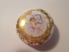 DELINIERES & Co. LIMOGES FRANCE TRINKET/ DRESSER BOX WITH CHERUB CIRCA 1890-1900