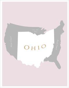 Ohio Map of U.S. - 11x14 - print $19.50 delovelyArts on Etsy