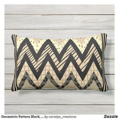 Geometric Pattern Black, Tan & Animal Prints Lumbar Pillow Lumbar Pillow, Throw Pillows, Animal Prints, Plush, Cottage, Black Plum, Beach, Outdoor Decor, Pattern